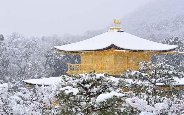 The beauty of Kinkakuji temple covered with snow doesn't change for 100 years.